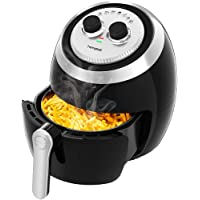 Homgeek 3.5L Air Fryer for Healthy Oil Free Low Fat Cooking with Adjustable Temperature Control and Timer, Recipe Book Included, 1500W, Black
