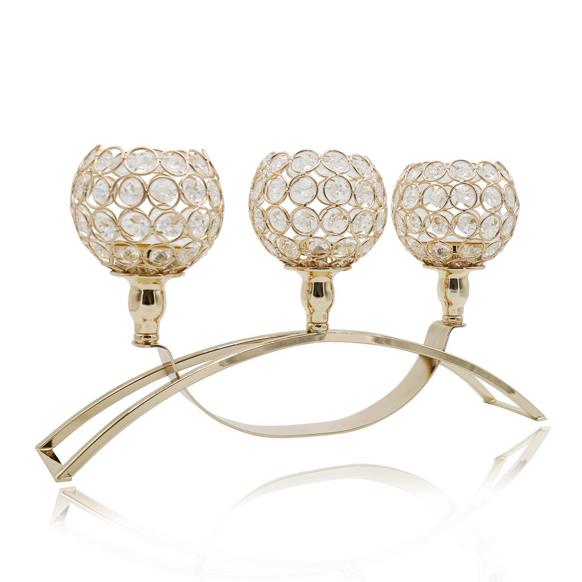 Joynest Crystal Candle Holders with 3 Arms, Wedding Coffee Table Decorative Centerpiece Candelabra, Tealight Candlestick Holder for Home/Holiday Decoration/Birthday (Gold)