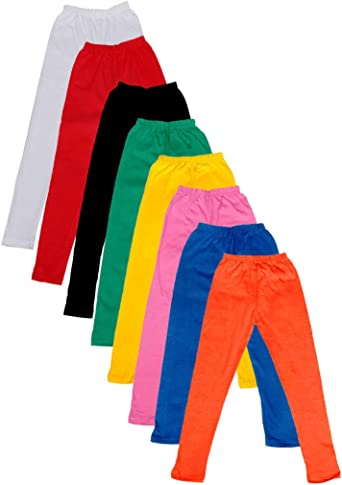 Indistar Big Girls Cotton Full Ankle Length Solid Leggings Pack of 8 -Multiple Colors-13-14Years