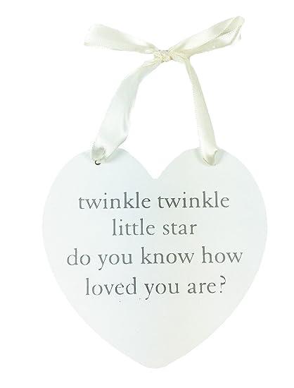 Binnenhuisinrichting Baby Twinkle Twinkle Little Star Quote Plaque Keepsake Gift Platen, panelen, bordjes