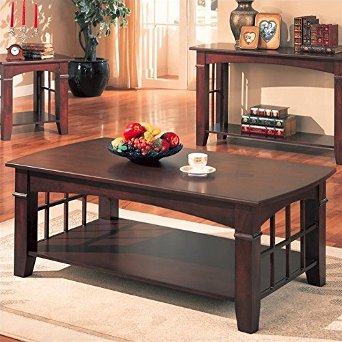 Coaster Antique Country Style Coffee Table, Cherry Finish (Table Coffee Country Cherry)