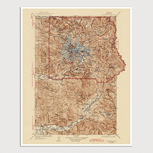 Mount Rainier National Park Map Art Print 1928 - USGS Topographic Map - Archival Reproduction