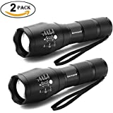 LED Tactical Flashlight, Binwo Super Bright 2000 Lumen XML T6 LED Flashlights Portable Outdoor Water Resistant Torch Light Zoomable Flashlight with 5 Light Modes