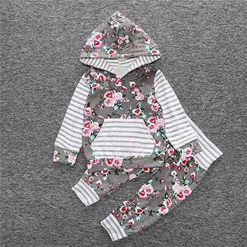 Amazon.com : 2PCS Baby Clothing Sets Boy Girl Floral Hooded Coat ...