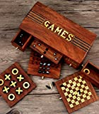 Christmas Gift Holiday Games Collectible 4 in 1 - Chess Set, Checkers, Nine Men's Morris & Tic-Tac-Toe - Indoor Board Games - 10.5 x 6 inches - Travel Accessory - Adults Kids Great Fun