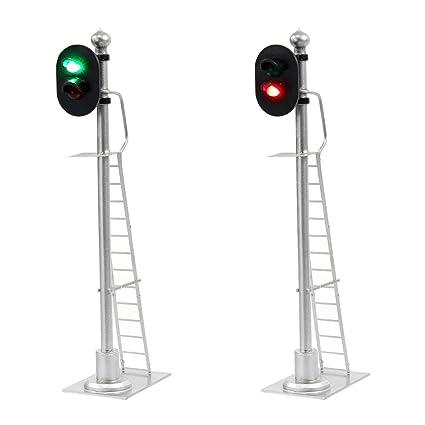 amazon com: jtd433gr 2pcs model railroad train signals 2-lights block signal  1:43 o scale 12v green-red traffic lights for train layout new: toys & games