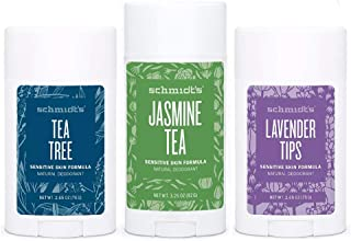 product image for Schmidt's Tea Tree, Lavender Tips 2.65 Oz each & Jasmine Tea 3.25 Oz Natural Deodorant for Sensitive Skin (Pack of 3)