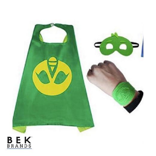 Bek Brands PJ Masks Gekko with Felt Bracelet Superhero Cape and Mask Set | Dress up