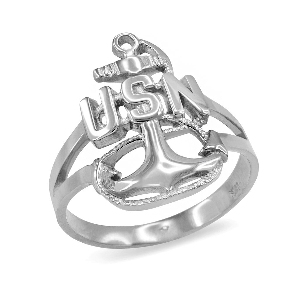 US Navy Fouled Anchor Ring in Fine 10k White Gold (Size 7)
