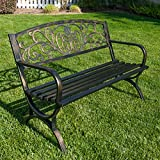 Cheap Belleze 50″ Garden Backyard Bench, Metal, Bronze
