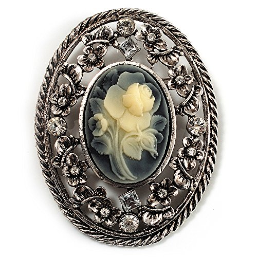 Cameo Pin Sterling Silver - Avalaya Vintage Floral Crystal Cameo Brooch (Antique Silver Finish)