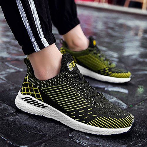 Yellow Athletic Walking Shoes Sneakers Sports Gym BIGU Outdoor Trainers Shoes Flying Shoes Running Breathable Mens Shoes Womens Casual Lightweight Couple Shoes Fabric 1pwAxz