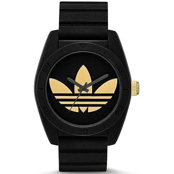 Adidas Santiago ADH2912 Reloj de mujer, caucho, plástico 50 m, analógico, negro, oro: Amazon.es: Relojes