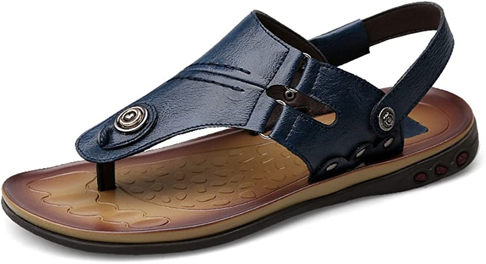 CNBEAU Mens Flip Flops Beach Sandals Comfort Thongs Genuine Leather Non-Slip Adjustable Backless
