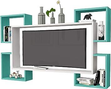 Mueble de TV con diseño de Wrap Color Blanco Turquesa: Amazon.es: Electrónica