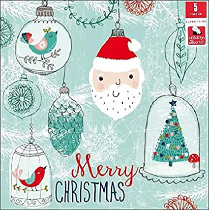 Pack of 5 Santa Bauble Children With Cancer Charity Christmas Cards Xmas Packs: Amazon.es: Oficina y papelería
