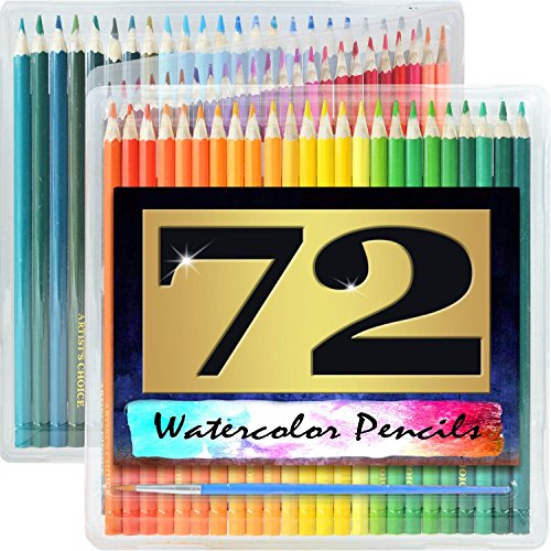 Artist's Choice 72 Pack Watercolor Pencils with Paintbrush - Watercolor Pencil Art Set