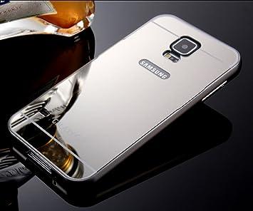 NiuSY Samsung Galaxy S5 Funda de Espejo, Ultra Delgado Panel Trasero de Aleación de Aluminio Metal enchapado Electroplate Bumper Duro Carcasa para ...