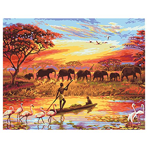 SYlive DIY Digital Oil Painting Paint by Numbers Frameless fishermen and elephants