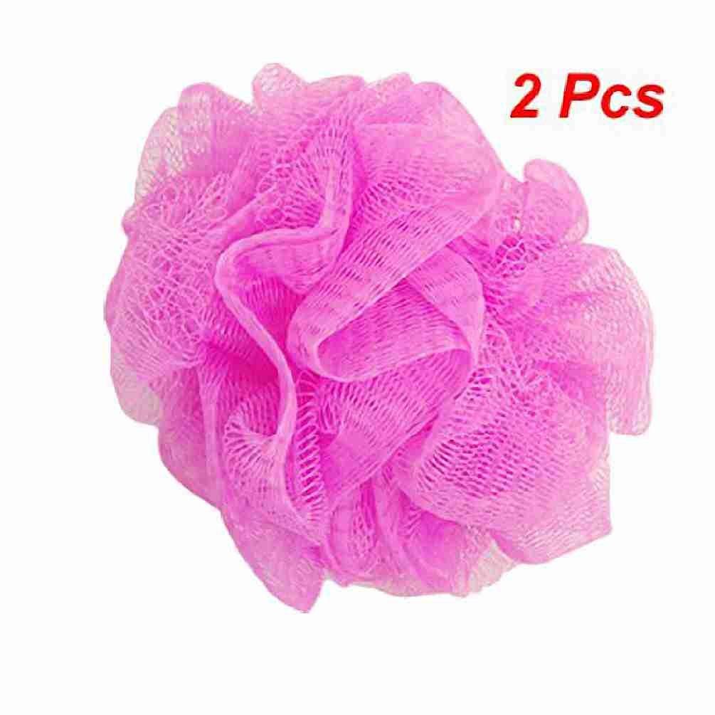 Move& Moving(TM) Mesh Bathing Shower Sponge Pouf Body Scrubber Amaranth Pink 2 Pcs