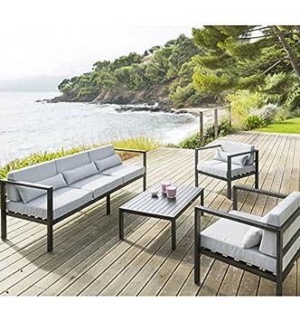 Salon de jardin noir Figari 5 places Hespéride: Amazon.fr: Jardin