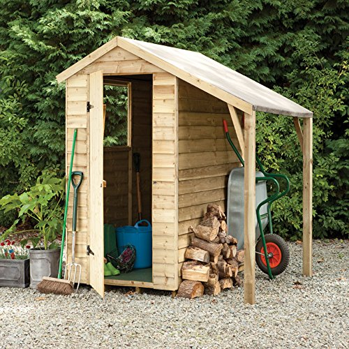 forest pressure treated 6x4 overlap apex shed with lean to - Garden Sheds With Lean To