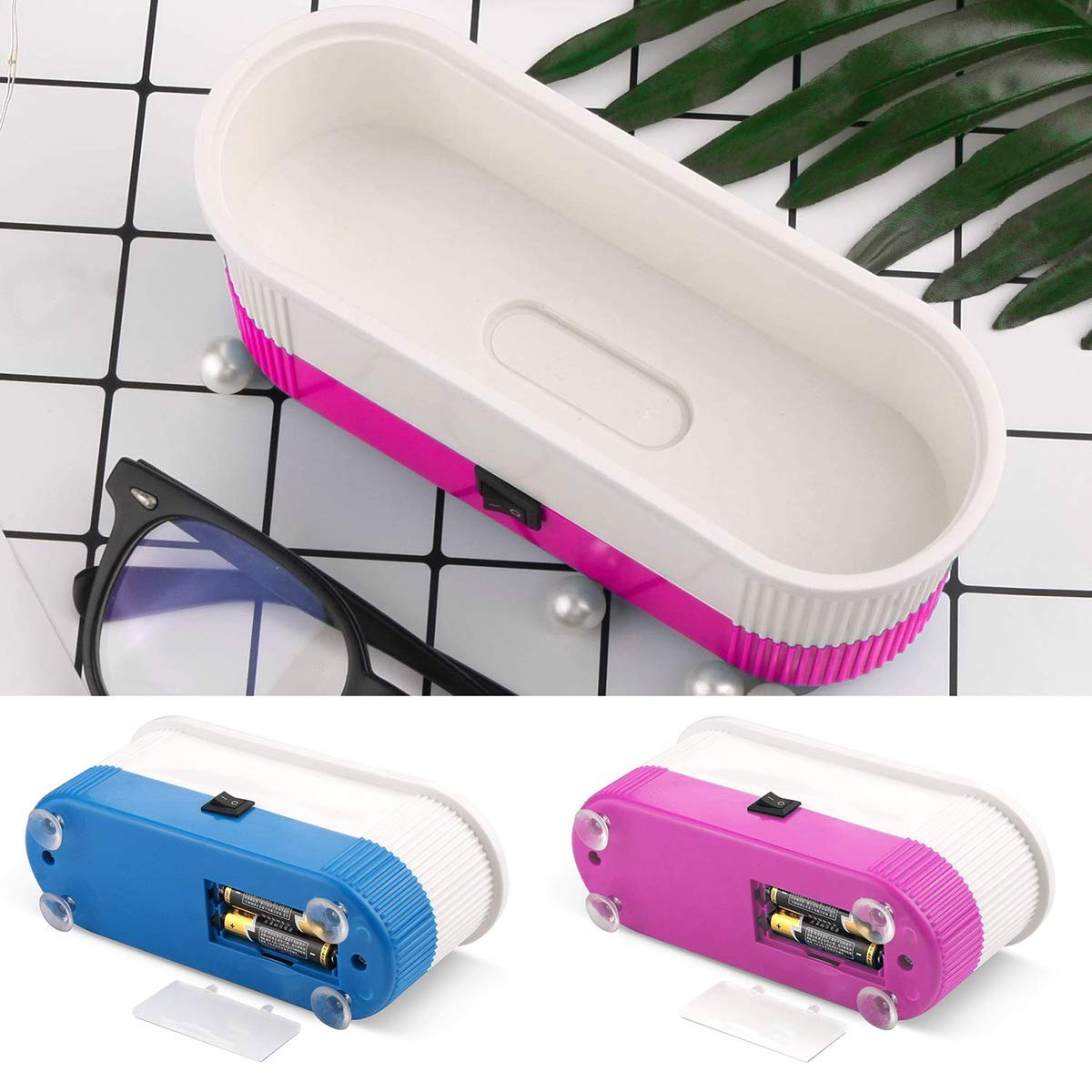 Portable Ultrasonic Cleaner Machine 3-In-1 for Contact Lenses Eyeglasses Watches, Rings, Necklaces, Coins, Razors, Dentures, Combs (Color : Pink)