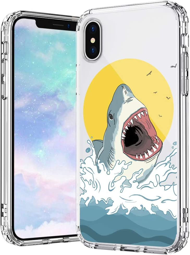 MOSNOVO iPhone Xs Max Case, Shark Pattern Printed Clear Design Transparent Plastic Hard Back Case with TPU Bumper Protective Case Cover for iPhone Xs Max
