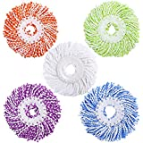 LEMNUY Spin Mop Head Replacement 5-Pack, Microfiber Refill Heads Universal for 360 Spin Magic mopping, Round Shape Standard Size (Green, Yellow, Blue, Purple and White)