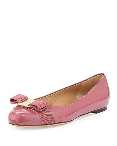 d7e2fba5d29 Salvatore Ferragamo Varina Bow Ballerina Flat Griotte Pink Patent Size 7 M  US