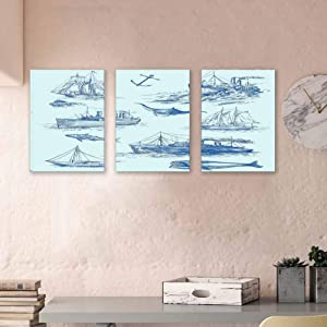 """Nautical Decor Art Oil Painting On Canvas Nautical Undersea Wildlife Shark Ancient Boat Ships Navy Stormy Weather Modern Home Wall Decor Framed Ready to Hang 16""""x24""""x3 Panels"""