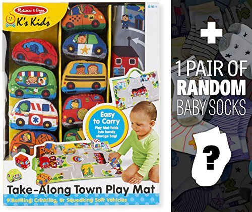Take-Along Town Play Mat: K's Kids Baby Toy Series + 1 FREE Pair of Baby Socks Bundle [92142] by Melissa & Doug