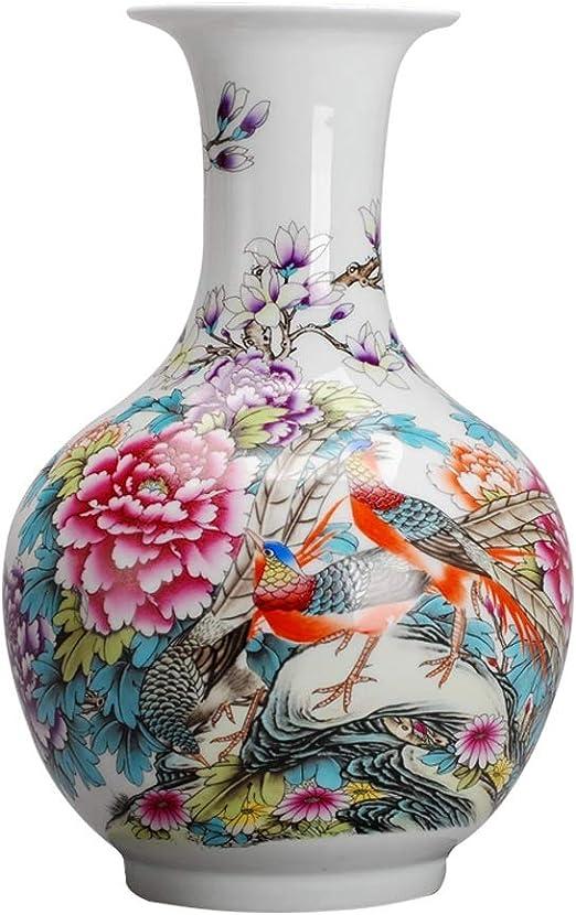 Jarrones Floreros Florero de cerámica clásica Flores y Aves for la ...