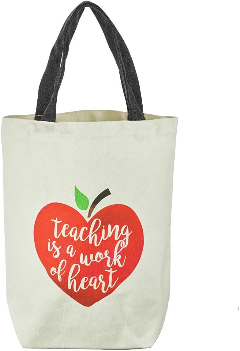 "Teacher Appreciation Reusable Shopping Tote Bag w/Touching Message -""Teaching is a Work of the Heart"" –Eco Bag/School Bag Red Heart Print Canvas Tote Bag for Crafts, Books, Groceries"