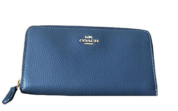 744d3a8453 Amazon.com: Coach Pebble Leather Accordion Zip Wallet (Denim): Clothing