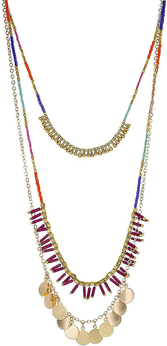 MULTI LAYERS RED GLASS SEED BEAD GOLD TONE /& LUCITE BEAD NECKLACE EARRING