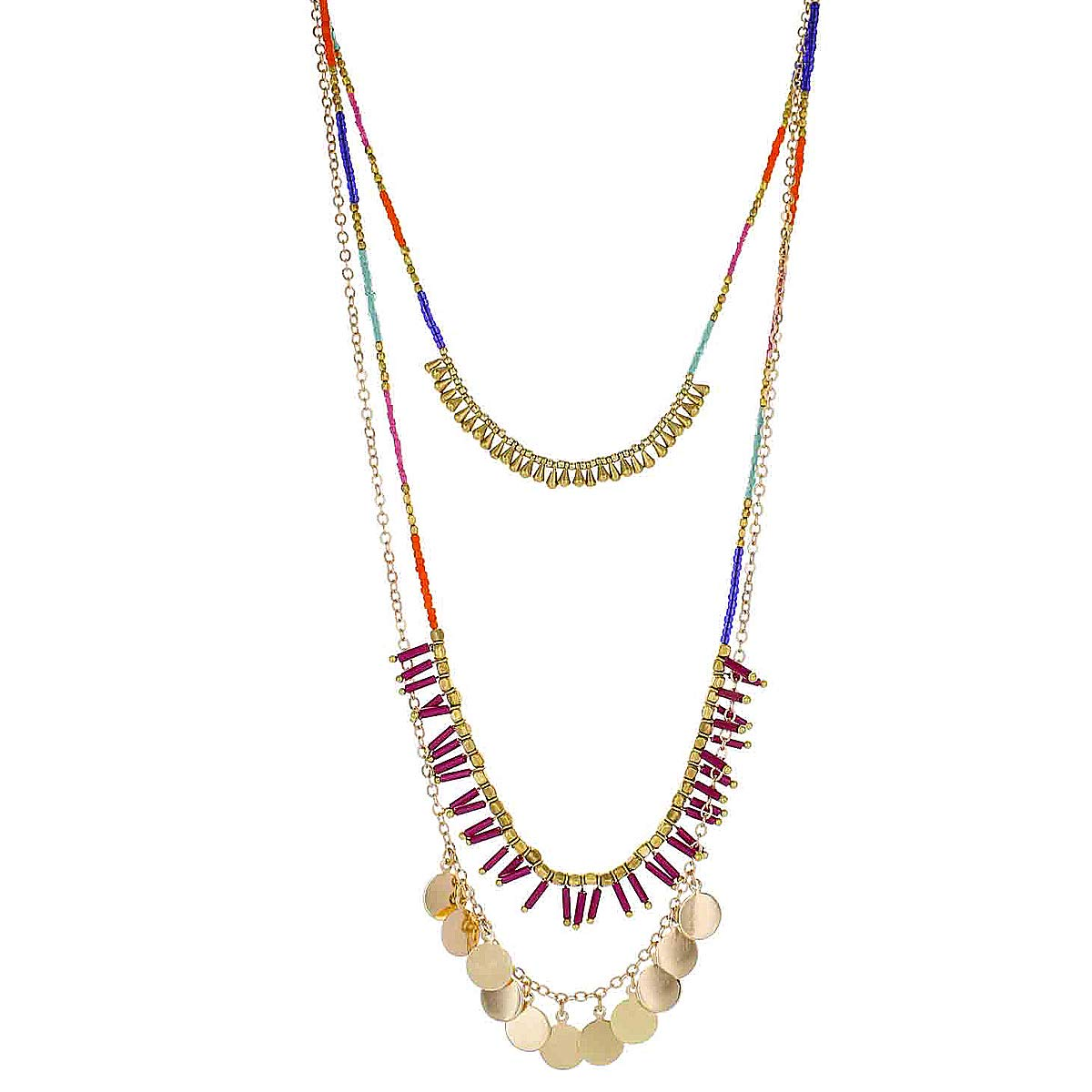 Panacea Womens Multi Strand Seed Bead Necklace With Stick Charm, Multi, One Size