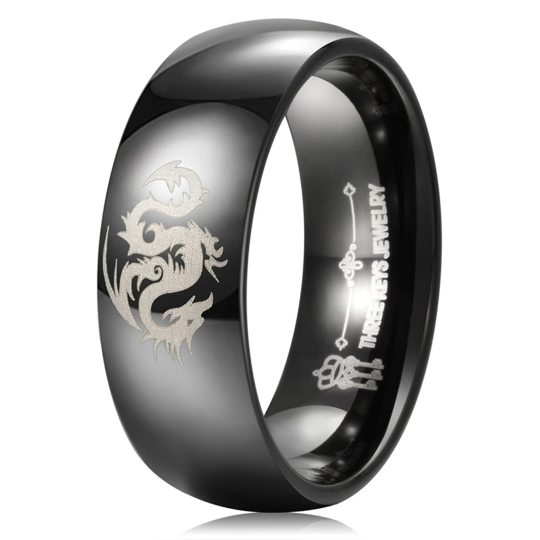 Three Keys Jewelry 8mm Tungsten Wedding Ring Black Laser Orient Dragon Wedding Band Engagement Ring Dome