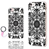 iPhone 8 Case Cute,iPhone 7 Case Floral,ChiChiC [Chic Series] Anti-Scratch Slim Flexible Soft TPU Rubber Cases Cover for Apple iPhone 7 8 4.7 Inch,geometric Black white classical floral pattern
