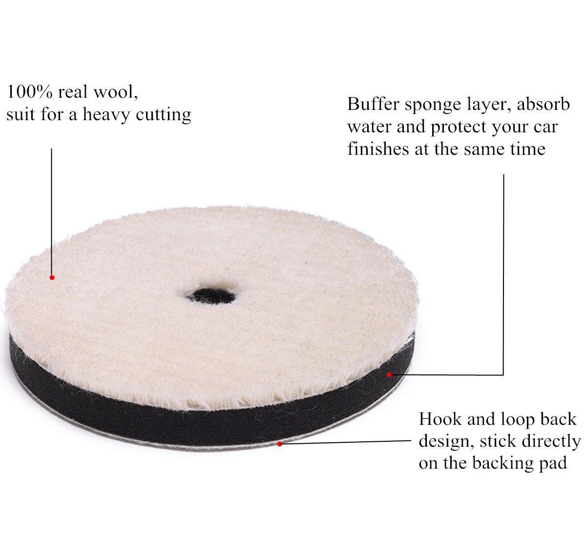 OKAYDA 100/% Wool Polishing Pad with Sponge Buffer and Hook /& Loop Back Wool Waxing Pad for Auto Car 5 2pack