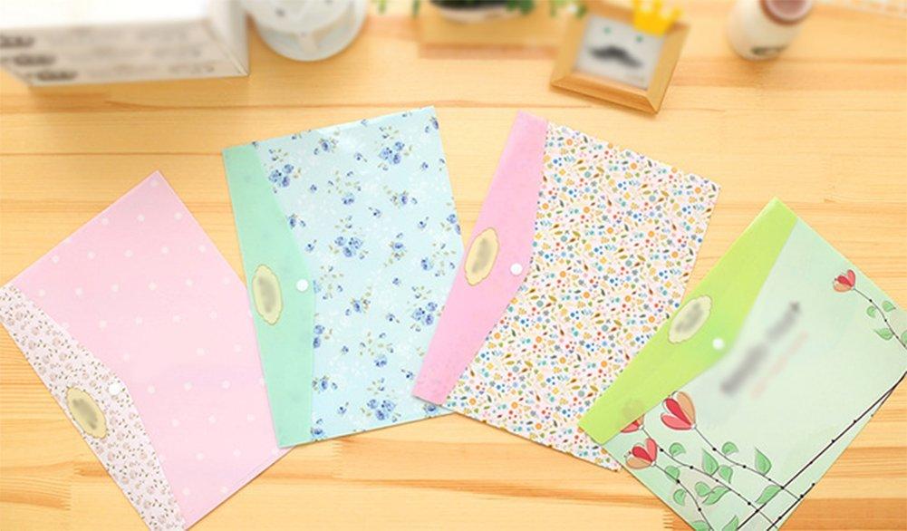 Leisial pezzi Portalima stampa floreale cartellina plastica cartelle portadocumenti cartella con bottoni chiusura colore casuale taglia unica As Shown