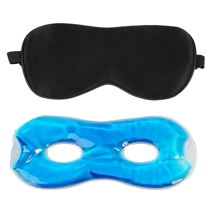 Ojo Máscara De Dormir, bellestyle Natural Seda Máscara de ojo dormir máscara y terapia de frío/caliente perlas de Gel - Super suave seda máscara de ojo ...