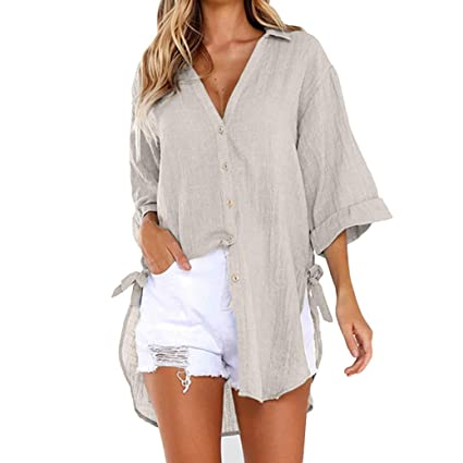 Amazon.com  KFSO Women s Long Sleeve Shirt Loose Button Long Blouse Plus  Size Shirt Dress (Khaki 7ba3e3c7f5da