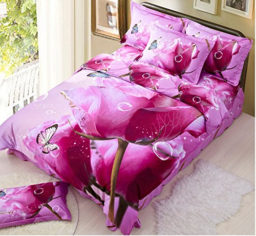 3d Cotton Bedding Set of Four Pieces of Printed Version of Gucci Activity Takes Four Sets (French Rose) by skilled prouducts