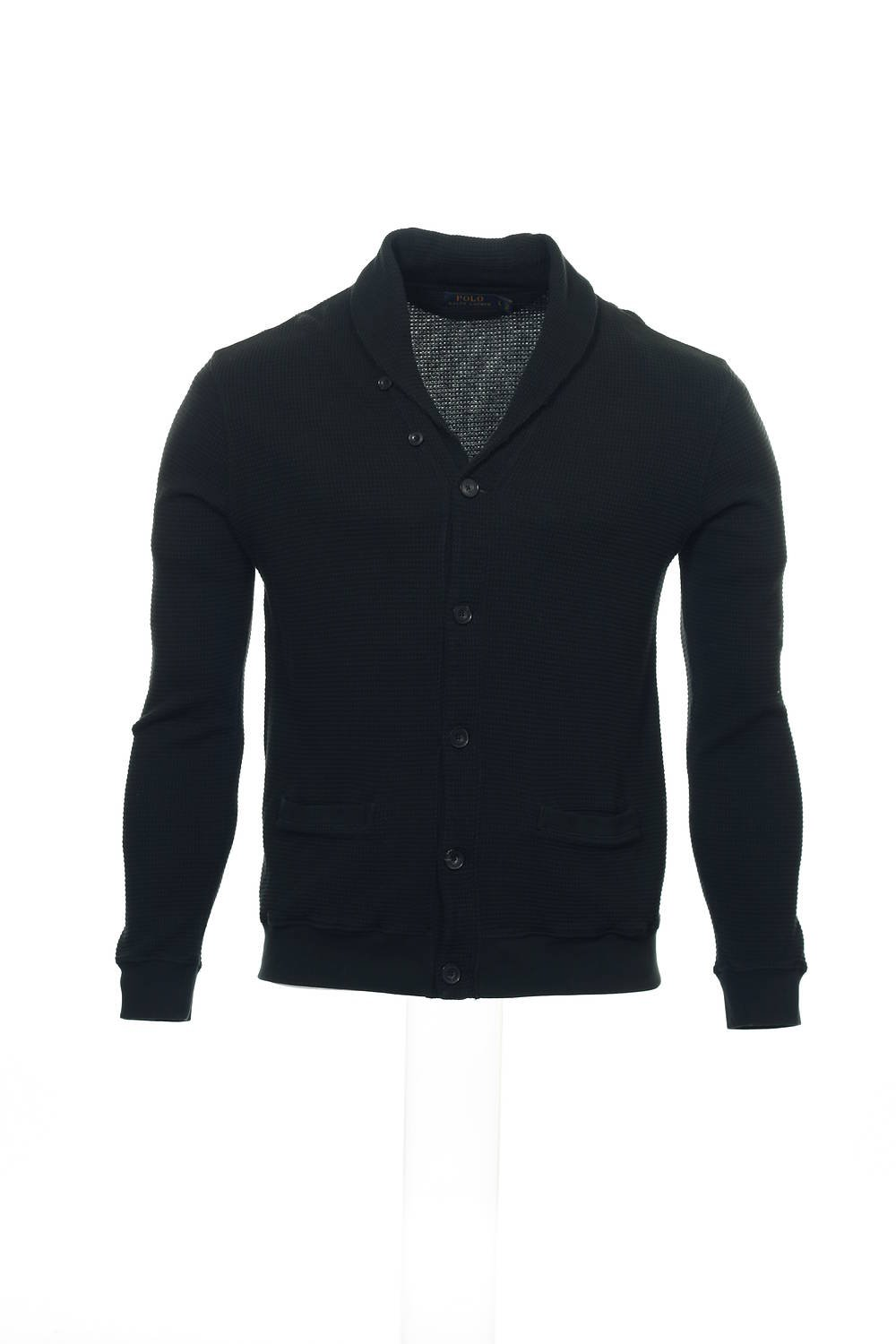 POLO by Ralph Lauren Black Shawl Neck Sweater , Size Large