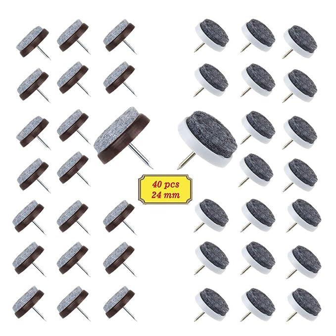 BAKTOONS 40 Stück Filzgleiter nagel(Ø 24 mm) Parkettgleiter, Möbelgleiter? Stuhlgleiter mit Kratzschutz? Geeignet für Parkett