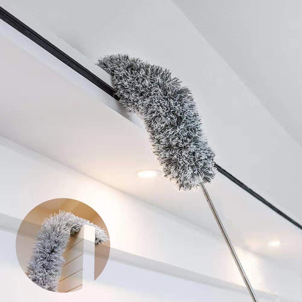Microfiber Duster for Cleaning with Extension PoleReaches 100 Inches,LECAMEBOR Flexible and Extendable Duster for Cleaning Ceiling Fan/Furniture/Keyboard/Cobweb-Upgraded by LECAMEBOR (Image #1)