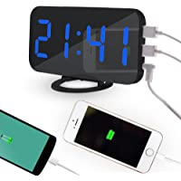 Pawaca 2018 镜子数字 LED 闹钟带双 USB 端口用于手机充电,6.5 英寸大屏幕,自动调光,旋钮功能,调光模式 - 白色字体