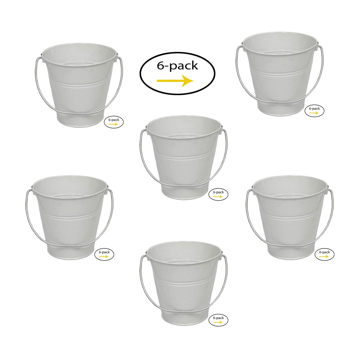 ITALIA 6-Pack Metal Bucket Color White Size 4.3x 4.3