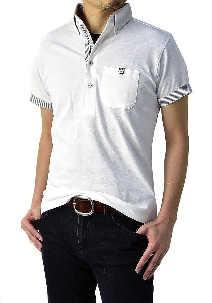 (フラグオンクルー) シャドーアーガイル ゆうパケット発送 メンズ ポロシャツ 半袖 ジャガード / ボタンダウンポロ B0M FLAG ON CREW